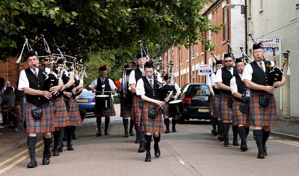 Milton Keynes Pipe Band on parade in Wolverton, Buckinghamshire.